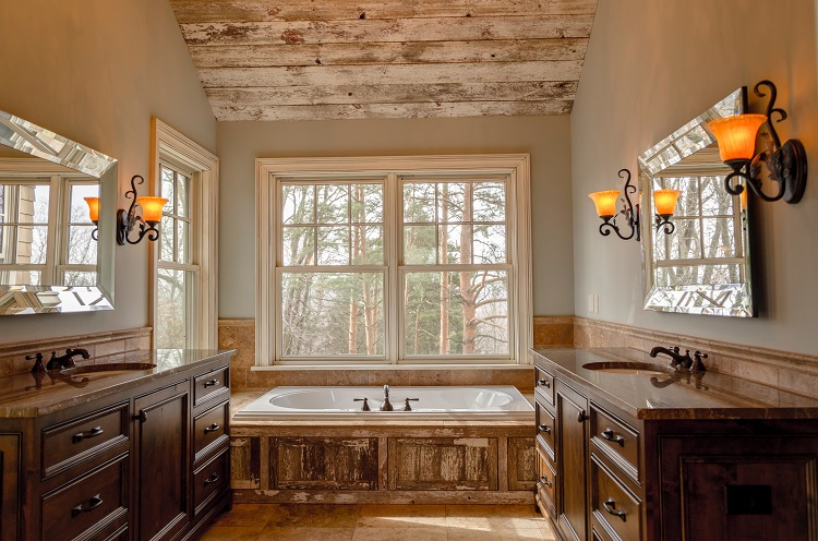 elegant bathroom with matching his and hers vanities